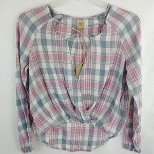True Craft Womens High Low Plaid Blouse Pink NWT